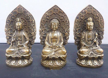 4.72 / Ancient Chinese copper western three god, guanyin Buddha statue