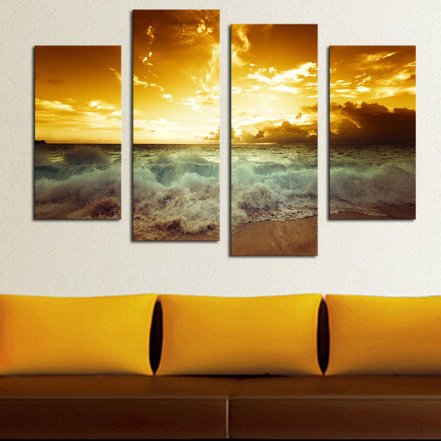 4 Piece Frameless Paintings For Living Room Wall Canvas Art Painting ...