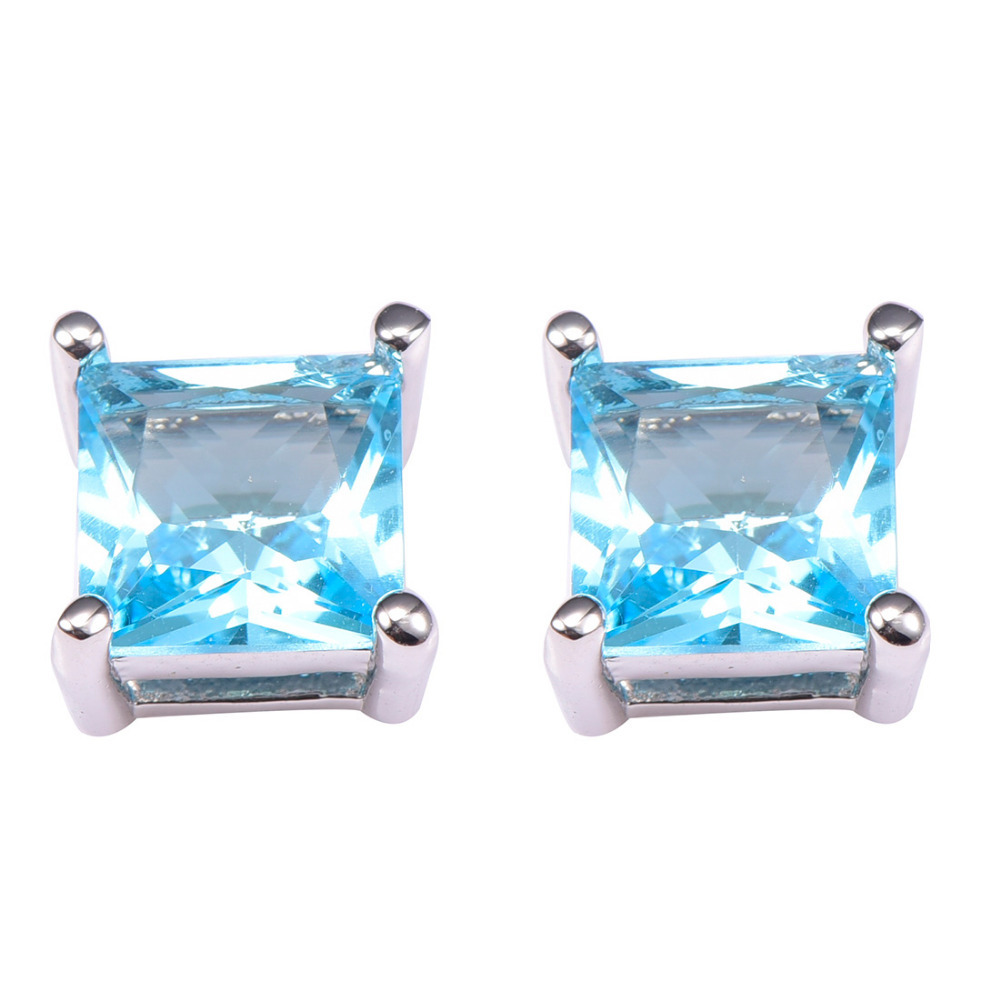 Simulated Aquamarine Women Earrings 925 Sterling Silver Earrings PE36