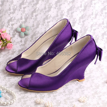 (20 Colors)Best Selling Shoes Purple Wedge Heels Sandals Shoes Open Toes for Wedding