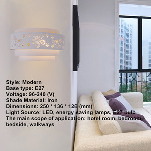Image 4 - موردن جدار مصابيح الحد الأدنى الجوف منحوتة فراشة زهرة LED E27 جدار ضوء الشمعدانات للداخلية غرفة نوم الممر الممر ضوء