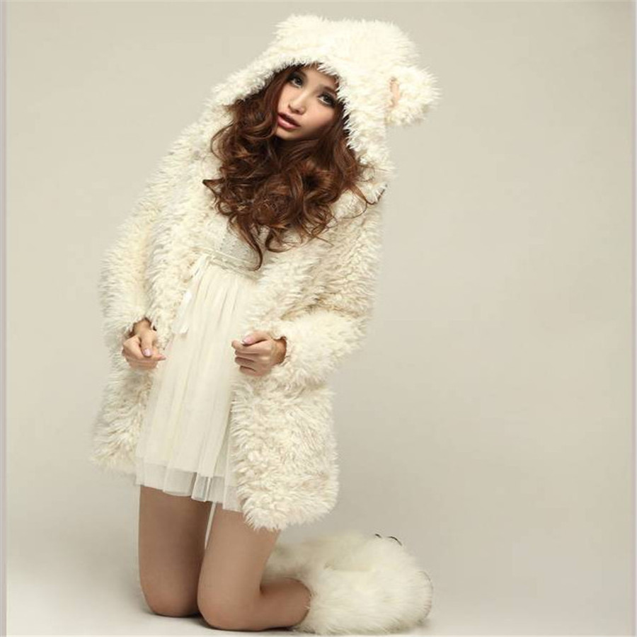 Fashion New Hot Sale Women Girls Faux Fur Soft Warm Thick Coat Jacket Cute Teddy Bear With Ears Hooded Outwear Hoodies