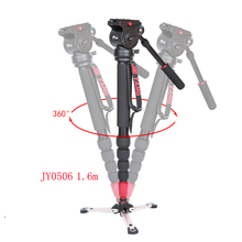 лучшая цена JIEYANG JY0506 JY0506B Aluminum Professional Video Monopod Tripod For Video Camera DSLR Camcorder & Panoramic Fluid Head & Bag