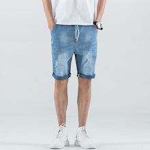 цены 2019 Summer Men Short Jeans Denim Trousers Mens Shorts Bermuda Jeans Fashion Casual Men Jeans With Holes Masculina