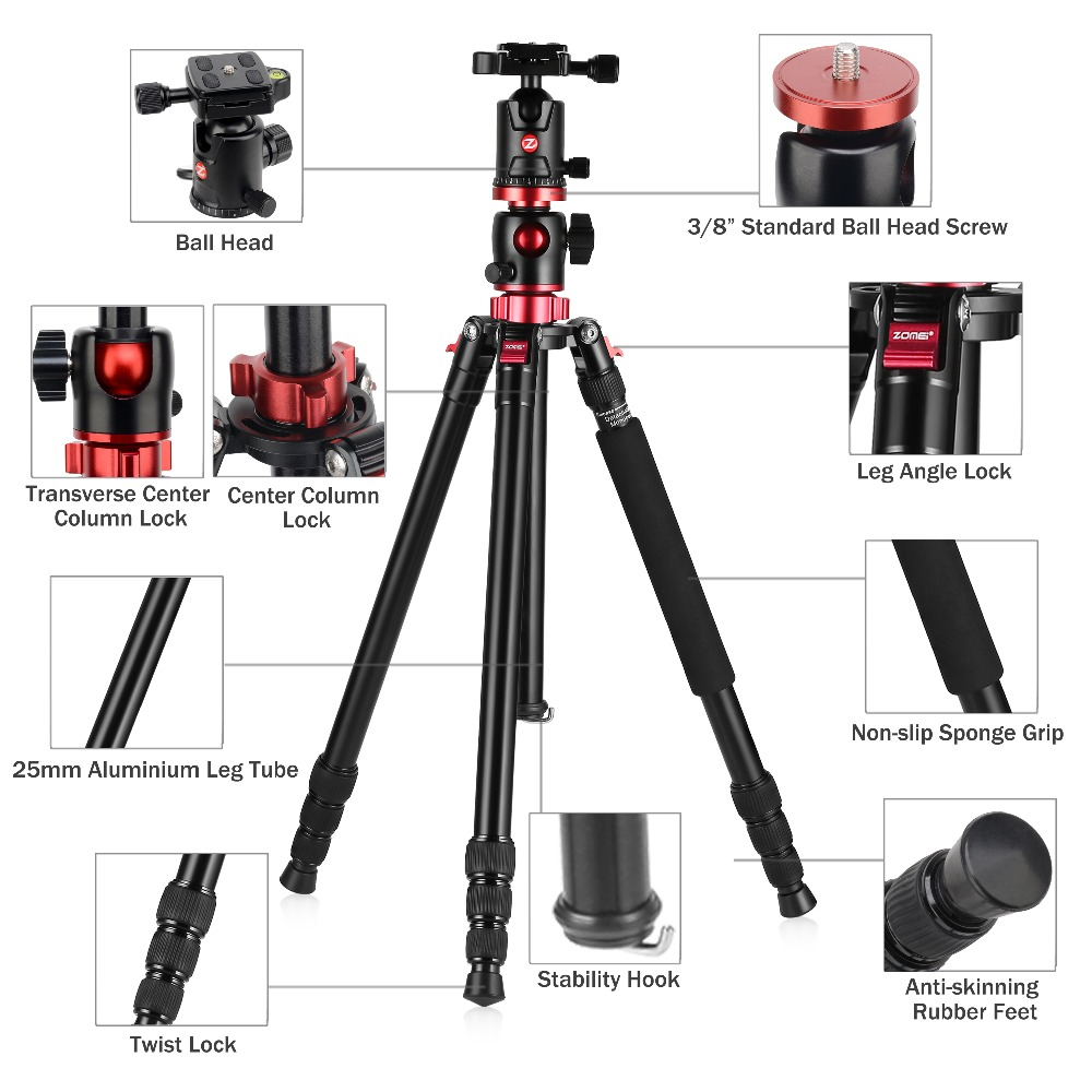 ZOMEI M8 Camera Tripod Portable Portable Professioional Aluminium Monopod 4 Sections Tripods With 360 Degree Ball Head zomei camera tripod portable portable professioional aluminium monopod 4 sections tripods with 360 degree ball head for dv dslr