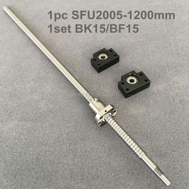 Ball screw SFU2005-1200mm Ballscrew with end machined + 2005 Ballnut + BK/BF15 End support for CNC partsBall screw SFU2005-1200mm Ballscrew with end machined + 2005 Ballnut + BK/BF15 End support for CNC parts
