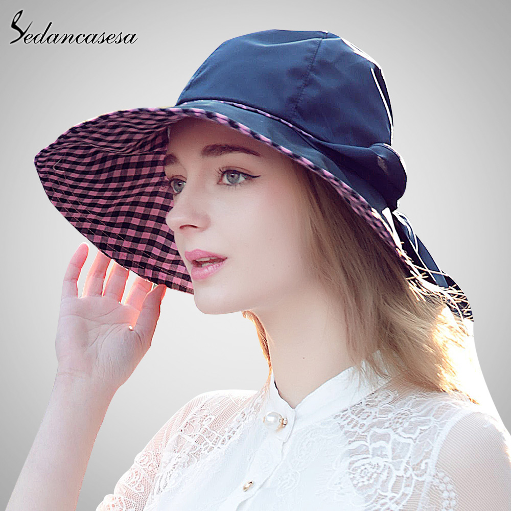 Sedancasesa hot Wide Brim Sun Hat for Women summer bucket hat sun protect beach  hat for foldable large brim cap 5 color WG015241 c5d8f0745e4