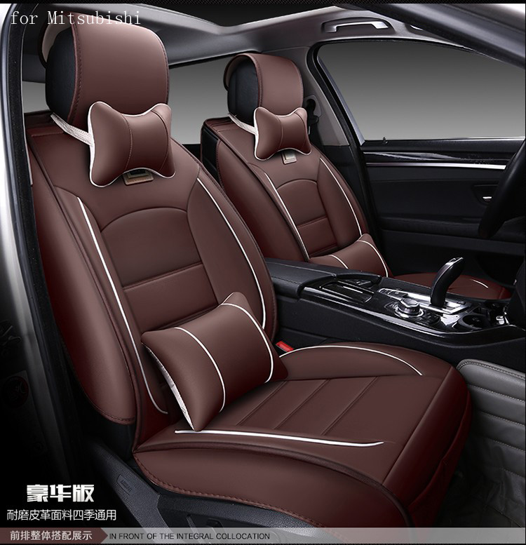 For mitsubishi asx outlander lancer pajero red black waterproof soft pu leather car seat covers easy clean front &rear full seat newest car wifi hidden dvr for mitsubishi outlander asx lancer pajero with original style app share video sony sensor