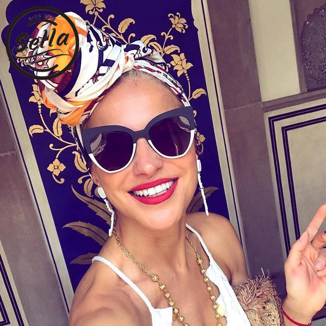 1097ef7223 Sella 2018 New Arrival Fashion Women Oversized Cateye Sunglasses Brand  Designer Trending Stitching Colors Fisher Sun