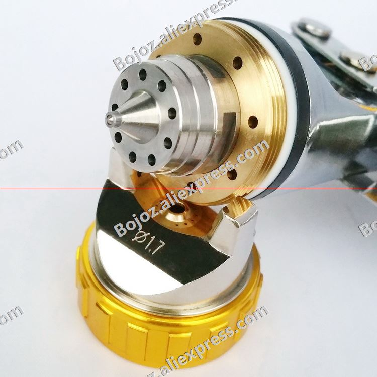 Free shipping HVLP Spray Gun Gravity Feed 1.7mm Paint Spray Pistol Power Tools w/t cup and Gold air cap for Car body
