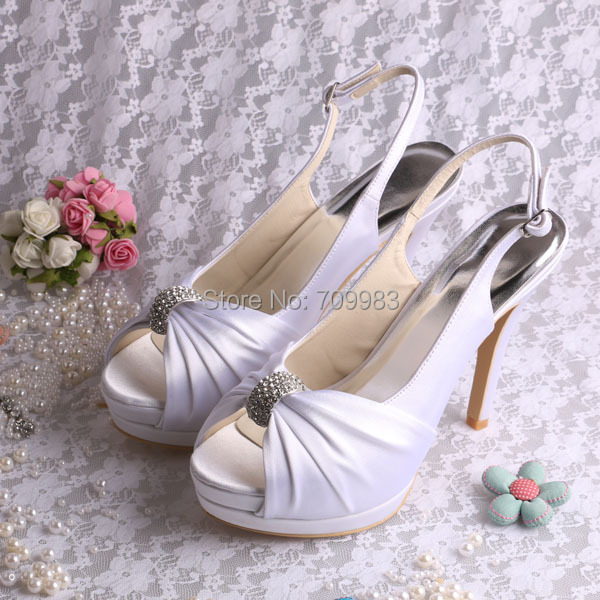 Latest Design Slingback Ivory Satin Fabric Bride Wedding Shoes Double  Platform Fashion Pumps Free Shipping-in Women s Pumps from Shoes on  Aliexpress.com ... b64c69c18370