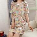 100% Algodão Plus Size Bonito Dos Desenhos Animados Impresso Camisola das Mulheres Sleepwear Verão de Manga Curta Roupas Femininas Roupa Interior Vestido