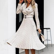 Turmeric sexy plaid dresses business dress button ladies blazer dress 2019 women belt long sleeve clothing for women with ruffle plaid button up long sleeve dress