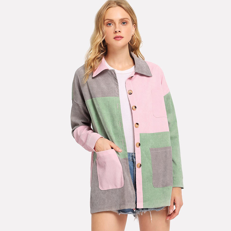 Cut and Sew Pocket Front Corduroy Coat Jacket Button Up Turn-down Collar Single Breasted Cropped
