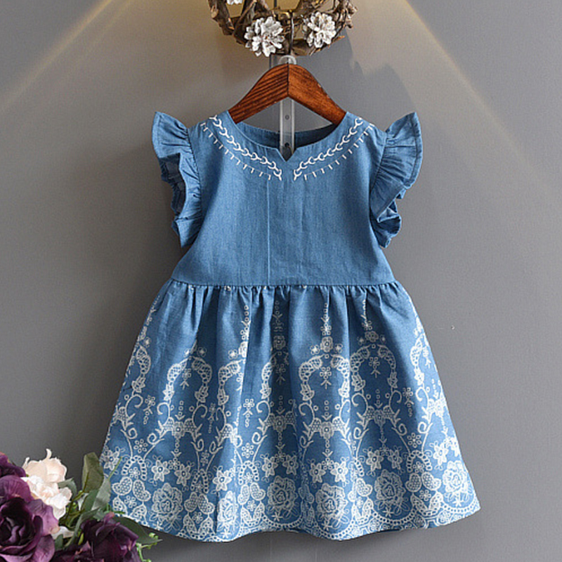 baby girl dress 2019 summer <font><b>princess</b></font> <font><b>toddler</b></font> girl dresses spring sleeveless denim a line dresses floral 3 4 5 6 7 years image