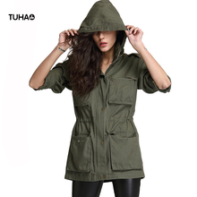 TUHAO Spring Adjustable Drawstring Waist Hooded Military Jackets Women Casual Coats Zipper Pockets MA1 Cargo Jackets TFS219