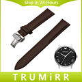 Genuine Leather Watch Band Butterfly Buckle Strap for Armani AR Men Women Wrist Belt Bracelet Black Brown 16mm 18mm 20mm 22mm