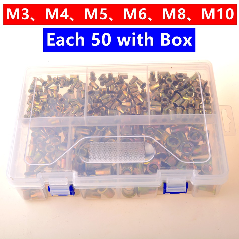 300 PCS With Box Stainless Steel Flat Head Rivet Nuts Set M3 M4 M5 M6 M8 M10 Insert Reveting Multi Size Rivet Nuts