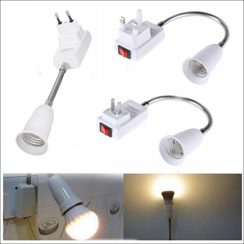 E27 Light Bulb Lamp Holder Flexible Extension Adapter Converter Screw Socket + Switch EU/ US/ UK Plug