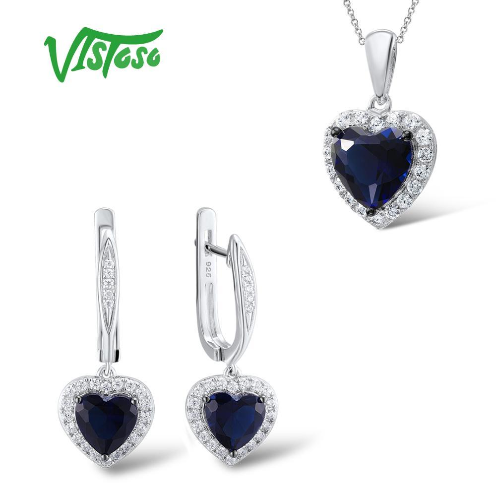 VISTOSO Ювелирные наборы для женские синие хрустальные камни комплект ювелирных изделий сердца серьги кулон 925 стерлингового серебра Fine Jewelry