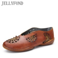 Vintage Style Genuine Leather Cuts Out Women Flats 2018 Designer Cowhide Moccasin Loafers Handmade Casual Driving
