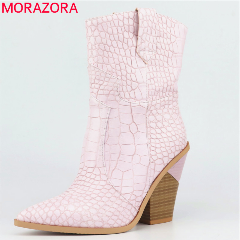 MORAZORA 2019 New Ankle Boots for boots pointed toe autumn winter boots ladies shoes thick high heels short boots female botasMORAZORA 2019 New Ankle Boots for boots pointed toe autumn winter boots ladies shoes thick high heels short boots female botas