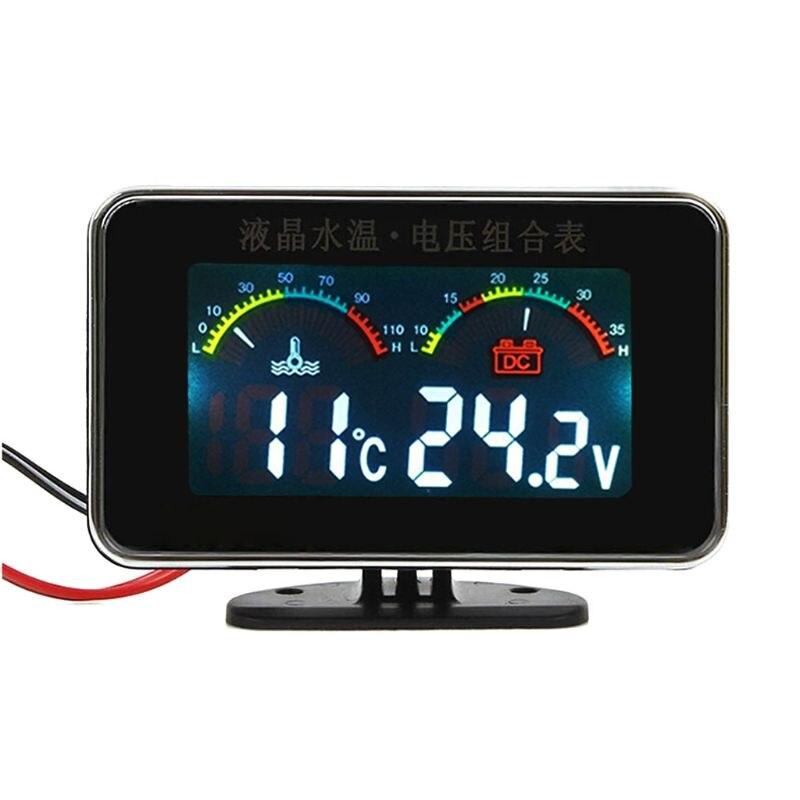 12V/24V Car LCD Water Temperature Meter Thermometer Voltmeter Gauge 2in1 Temp & Voltage Meter 17mm Sensor