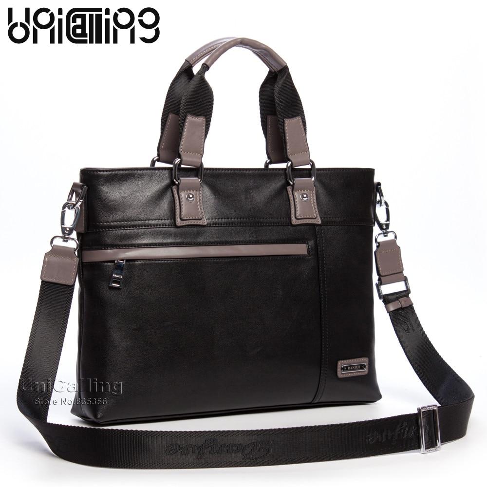 45ee3adb17cc Модная брендовая мужская Бизнес Crossbody сумка натуральная кожа мужские  компьютер портфель для ноутбука мужская деловая сумка