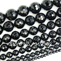 "4 6 8 10 12 14mm Faceted Black Agate Round stone Beads 15"" Pick Size Free Shipping(F00047)"