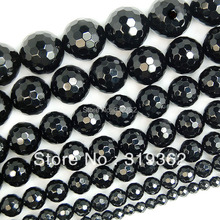 4 6 8 10 12 14mm Faceted Black Agate Round Gemstone Beads 15 Pick Size Free Shipping