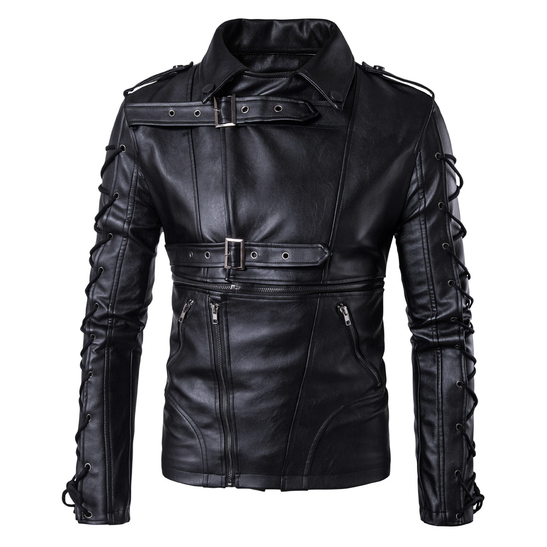 2018 Spring Autumn Mens Leather Jackets High-end Motorcycle Leather Jacket Men Fashion Casual Tied Rope Black Leather Coat Men