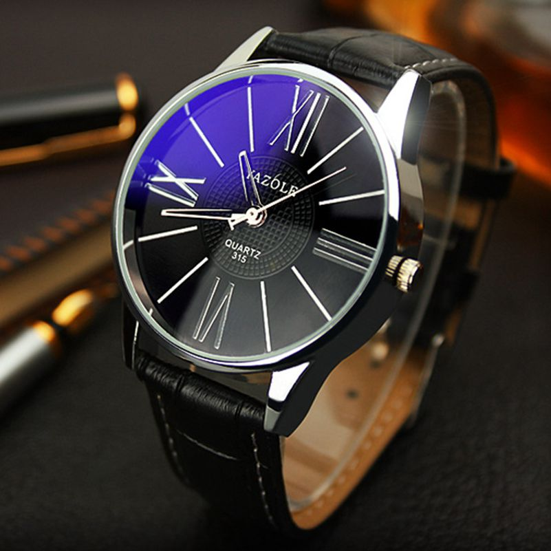 Luxury Top Brand YAZOLE 315 men watch Fashion Blue Glass Unisex Quartz Watch Women Business Casual