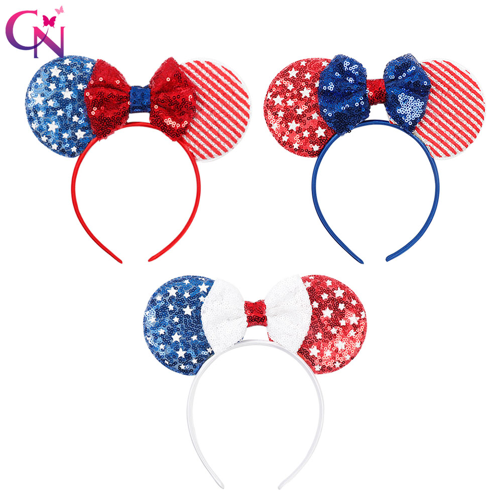CN Hair Accessories Minnie Mouse Ears Headband for Girls 4th of July Sequin Bow Hairbands Flag Independence Day Kids   Headwear