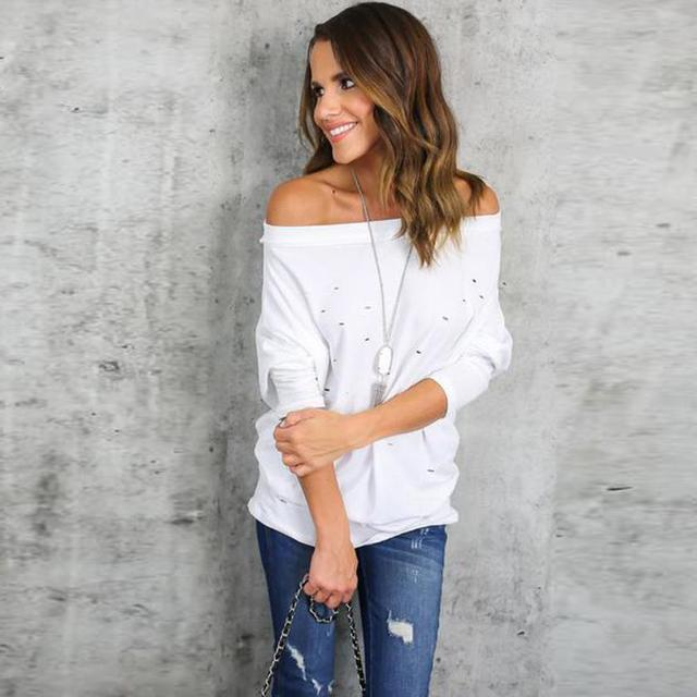 Mooistar #4005 Womens Hole Ripped Long Sleeve Off The Shoulder Shirt Loose Casual T-Shirt