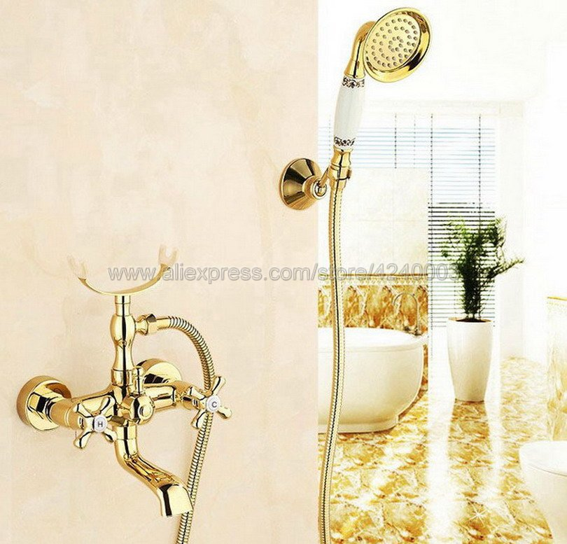 Luxury Gold Color Brass Bath Shower Faucet Set Dual Knobs Wall Mounted Bathtub Mixers with Handshower