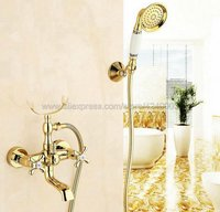 Luxury Gold Color Brass Bath Shower Faucet Set Dual Knobs Wall Mounted Bathtub Mixers with Handshower Swive Tub Spout Ktf124