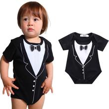 Girls ' Clothing Newborn Infant Baby Boys Bow Tie Printing Romper Jumpsuit Clothes Outfits Y1207