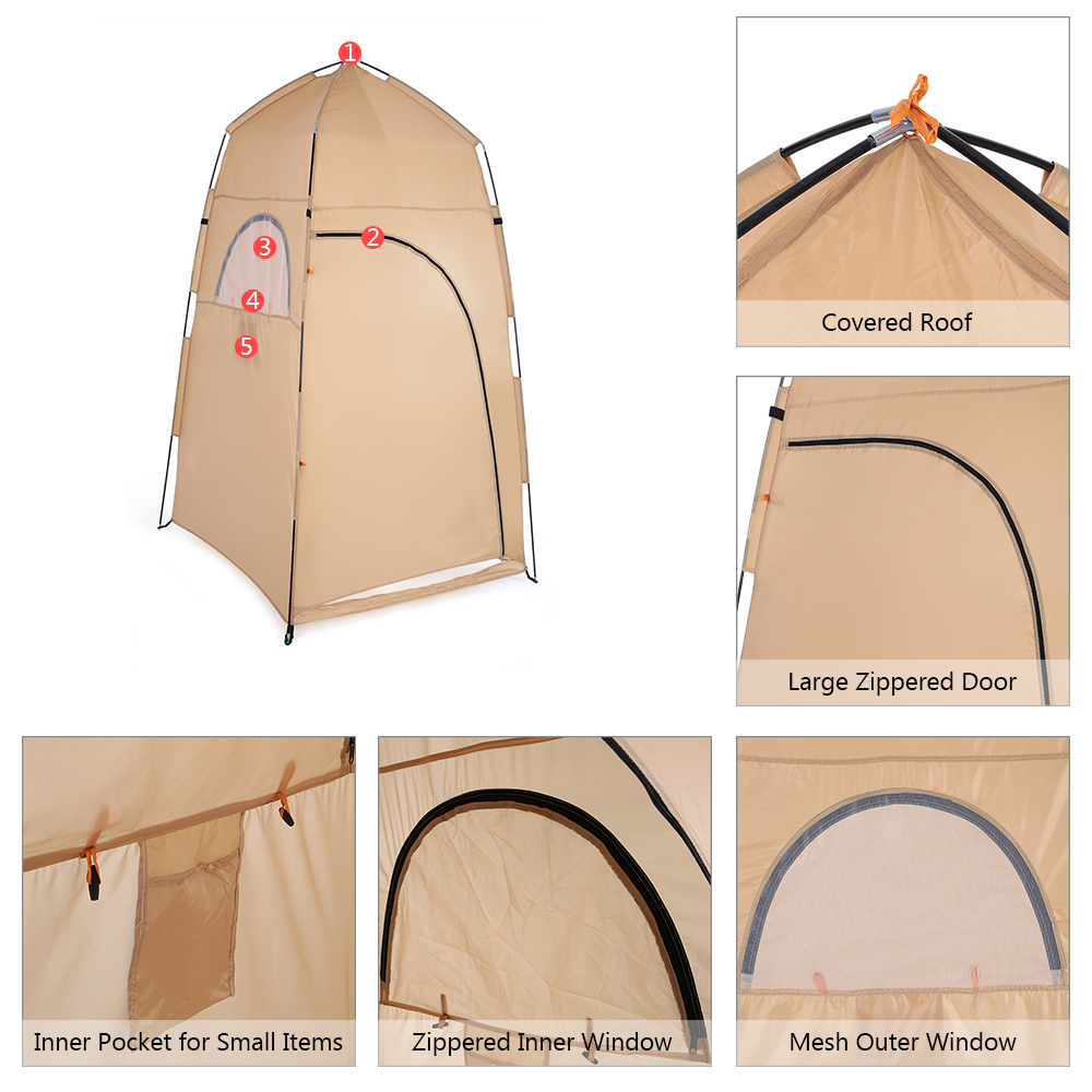 TOMSHOO Portable Camping Tent  With Large Zippered Door Used As Forest And Mountain 7