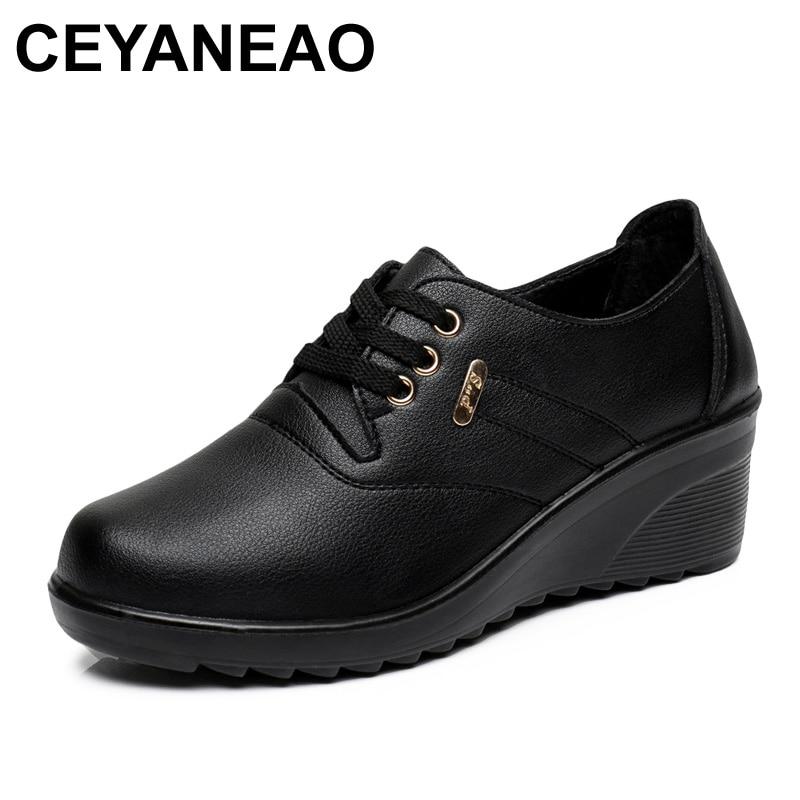 Mode Cuir Ceyaneao Confortable Printemps Compensées Chaussures rouge Talons Casual Automne Noir Appartements De Femme Lady Femmes En dtvtr6