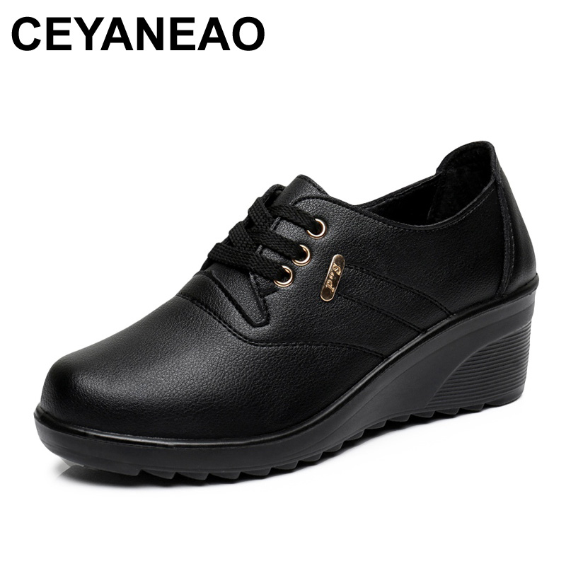 CEYANEAO Spring Autumn Fashion Womens Flats Shoes Woman Leather Wedges High Heels Shoes Lady Casual Comfortable ShoesCEYANEAO Spring Autumn Fashion Womens Flats Shoes Woman Leather Wedges High Heels Shoes Lady Casual Comfortable Shoes