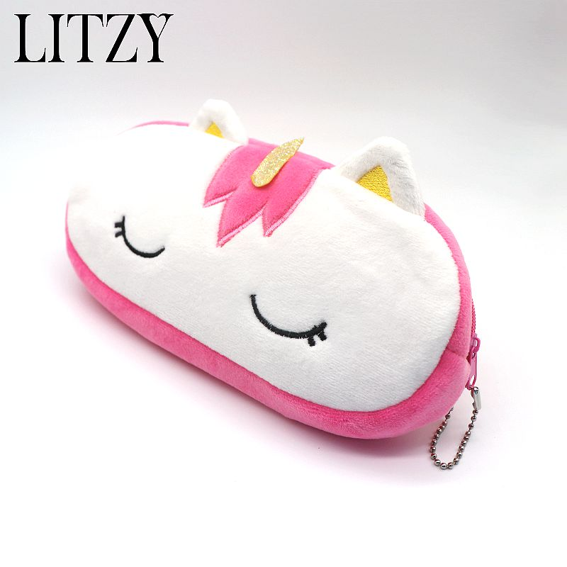 Unicorn Plush Pencil Case for Boys Girls School Cute Big Capacity Zipper Pencil Bag Pen Box School Supplies Bts Stationery Gift new leather pencil case bag for school boys girls vintage pencil case box stationery products supplies as gift for student