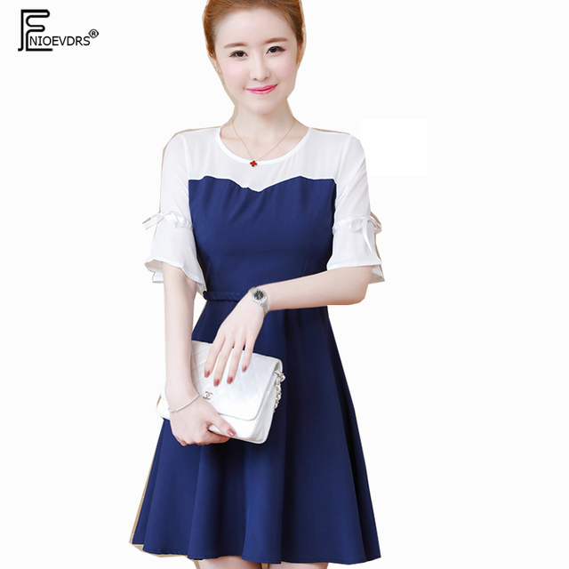 5f0791230e Cute Sweet A Line Dresses 3XL New Hot Women Japan Style Design Blue Work  Office Lady Patchwork Strapless Flare Sleeve Dress 3030