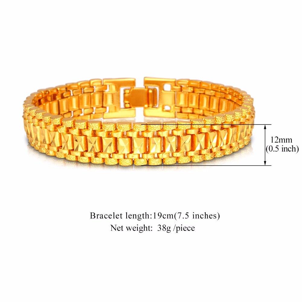 U7 Mens Bracelet Punk Rock Style Black/Silver/Gold Color Big Wide Chunky Chain Link Bracelets Meditation Men Jewelry Gift H550 1