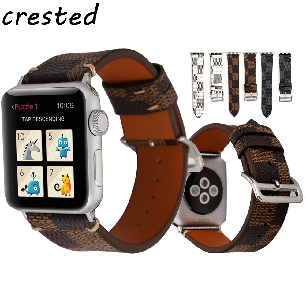 CRESTED Genuine Leather strap band For Apple Watch 3/2/1 iwatch 38/42mm bracelet Wrist Watchband with metal buckle crested genuine leather strap for samsung gear s3 watch band wrist bracelet leather watchband metal buck belt
