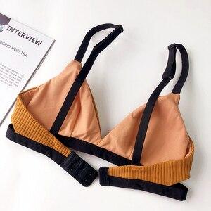 Image 4 - יפני סגנון כותנה תולעת אלחוטי Bralette ותחתונים סקסי חלול החוצה חזיות עם pad biquini תחתונים נוח הלבשה תחתונה