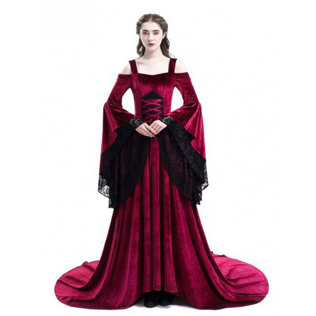 dded454ff36 Cosplay Halloween Dress Medieval Palace Princess Dress Adults Women Gothic  Queen 2018 Plus Size 4xl 5xl Party Halloween Costumes