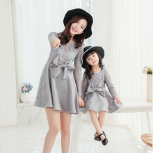 2017 New Family Matching Outfits Mother And Daughter Long-sleeve Dresses Suede Girl Lace Princess Dress