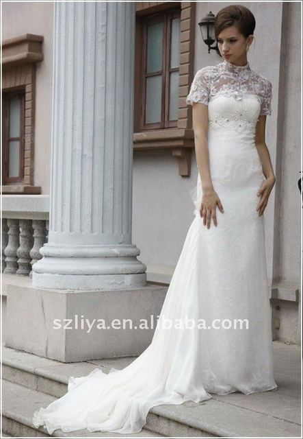 5946643022a68 Lacy Mock Turtleneck Elegant Modest Wedding Dress with Train-in ...