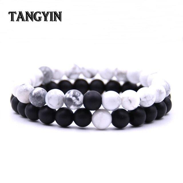 5f6c186eabff € 1.7 40% de DESCUENTO|2 unids/set parejas distancia pulsera piedra Natural  clásico blanco y negro Yin Yang pulseras para hombres mujer mejor amigo ...