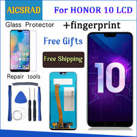Протестировано 5,84 'для huawei honor 10 honor 10 ЖК-дисплей + сенсорный экран дигитайзер сборка Замена + отпечаток пальца COL-L29